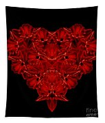 Love Red Floral Heart Tapestry