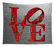Love Sign Philadelphia Recycled Red Vintage License Plates On Aluminum Sheet Tapestry