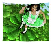 Lovely Irish Girl With A Glass Of Green Beer Tapestry