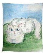 Lovely Kitty. White Cat Kusyaka Tapestry