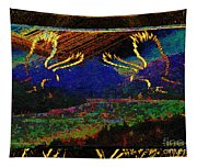 Lovers Dancing In The Golden Light Of Dawn Tapestry