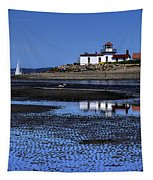 Low Tide At The Lighthouse Tapestry