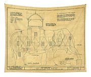 Lucy The Elephant Building Patent Blueprint  Tapestry