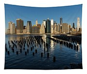 Luminous Blue Silver And Gold - Manhattan Skyline And East River Tapestry