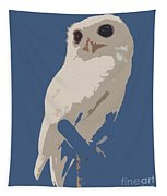 Luna The Rescued White Leucistic Eastern Screech Owl Abstracted Tapestry