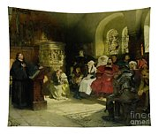 Luther Preaches Using His Bible Translation While Imprisoned At Wartburg Tapestry