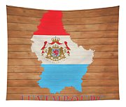 Luxembourg Rustic Map On Wood Tapestry