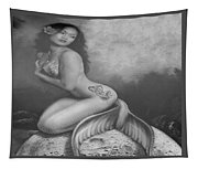 Lydia The Tattooed Mermaid In Black And White Tapestry