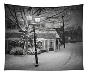 Mablehead Market Square Snowstorm Old Town Evening Black And White Painterly Tapestry