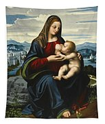 Madonna And Child Before A Landscape Tapestry