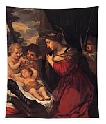 Madonna And Child With Child And Angles Tapestry