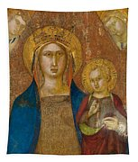 Madonna And Child With Two Angels Tapestry