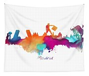 Madrid Colored Skyline Tapestry