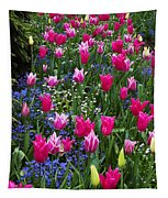Magenta And White Tulips Tapestry