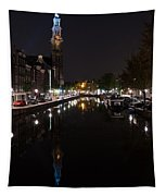 Magical Amsterdam Night - Blue Crown Skyline Tapestry