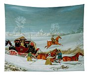Mail Coach In The Snow Tapestry