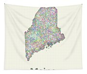 Maine Line Art Map Tapestry