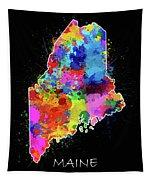 Maine Map Color Splatter 2 Tapestry