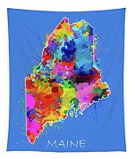 Maine Map Color Splatter 3 Tapestry