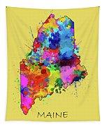 Maine Map Color Splatter 4 Tapestry