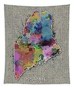Maine Map Color Splatter 5 Tapestry