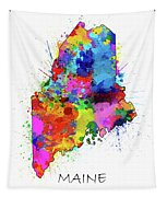 Maine Map Color Splatter Tapestry