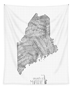 Maine Map Music Notes Tapestry