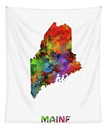 Maine Map Watercolor Tapestry