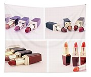 Makeup Set Of Lipsticks Isolated Tapestry