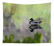 Mallard In Mountain Water Tapestry