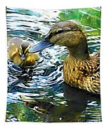 Mama And Chick Tapestry