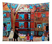 Mama  Papa And New Baby Tapestry
