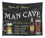 Man Cave Chalkboard Sign Tapestry