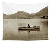 Man In A Row Boat Named Lizzie On Palmer Lake On The Colorado Di Tapestry