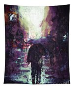 Man Walking Under Umbrella Tapestry