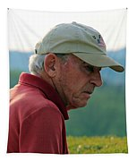 Man With American Flag On Cap Tapestry