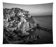 Manarola Dusk Cinque Terre Italy Bw Tapestry