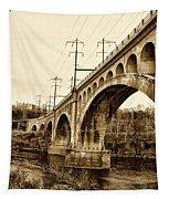 Manayunk Bridge Across The Schuylkill River In Sepia Tapestry