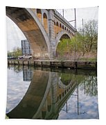 Manayunk Canal Bridge Reflection Tapestry