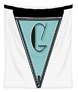 Pennant Deco Blues Banner Initial Letter G Tapestry