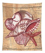 Map And Shells Tapestry