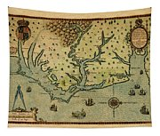Map Of America 1590 Tapestry