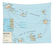 Map Of Cape Verde Tapestry