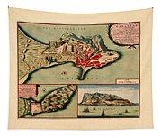 Map Of Gibraltar 1706 Tapestry