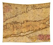 Map Of Long Island New York State In 1842 On Worn Distressed Canvas  Tapestry