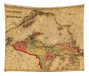 Map Of Michigan Upper Peninsula And Lake Superior Vintage Circa 1873 On Worn Distressed Canvas  Tapestry