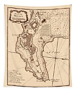 Map Of Monaco 1764 Tapestry