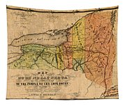 Map Of New York State Showing Original Indian Tribe Iroquois Landmarks And Territories Circa 1720 Tapestry