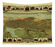 Map Of Oakland 1900 Tapestry