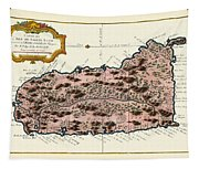 Map Of Saint Lucia 1758 Tapestry